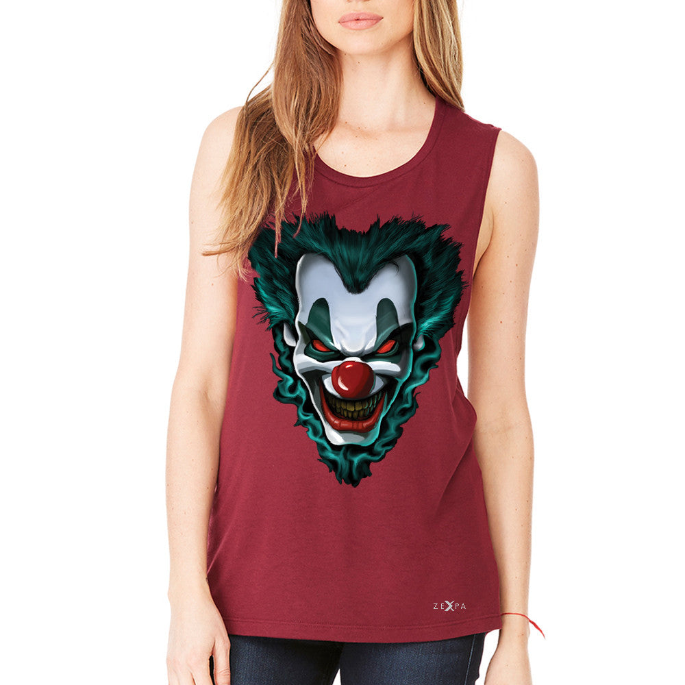 Freakshow Joker Clown Scary Women's Muscle Tee Halloween Eve Costume Tanks - Zexpa Apparel - 4