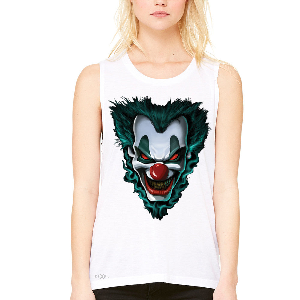 Freakshow Joker Clown Scary Women's Muscle Tee Halloween Eve Costume Tanks - Zexpa Apparel - 6