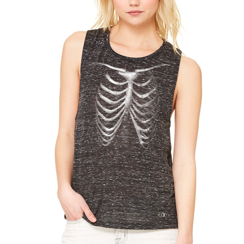 Rib Cage Glow in The Dark  Women's Muscle Tee Halloween Costume Eve Tanks - Zexpa Apparel - 3
