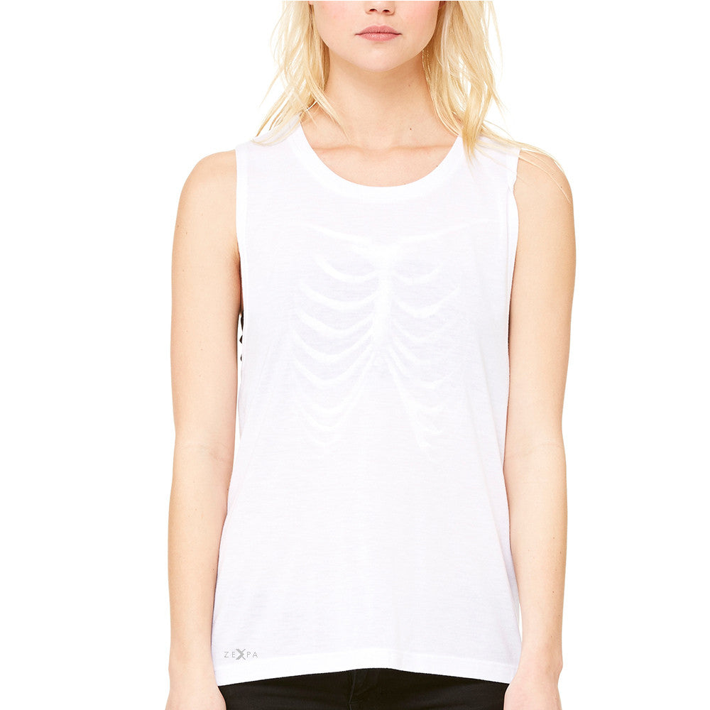 Rib Cage Glow in The Dark  Women's Muscle Tee Halloween Costume Eve Tanks - Zexpa Apparel - 6