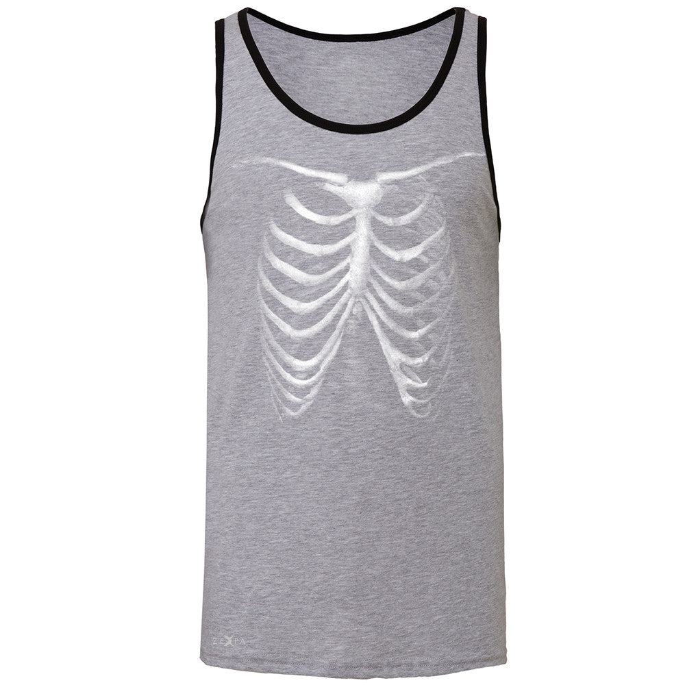 Rib Cage Glow in The Dark  Men's Jersey Tank Halloween Costume Eve Sleeveless - Zexpa Apparel - 2