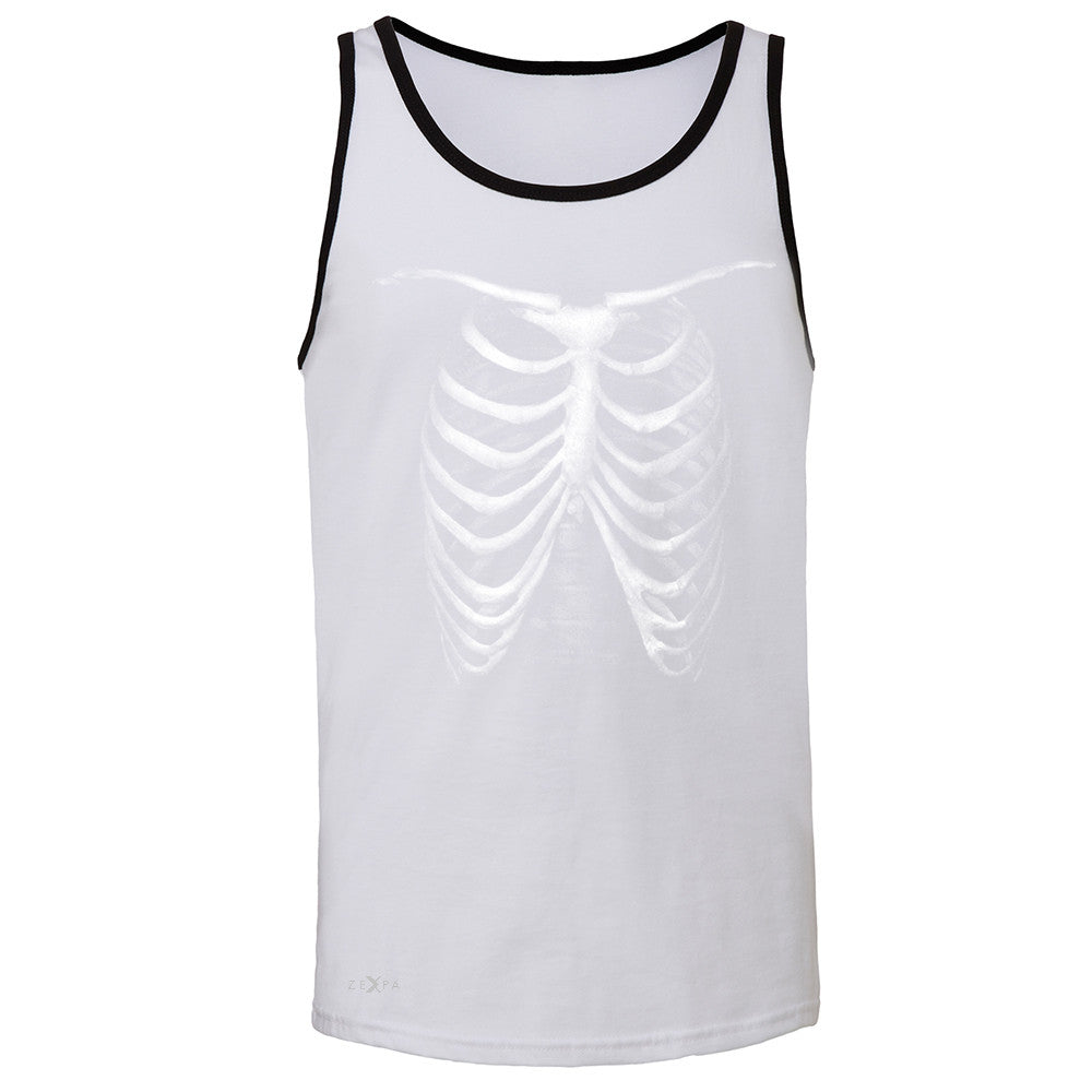 Rib Cage Glow in The Dark  Men's Jersey Tank Halloween Costume Eve Sleeveless - Zexpa Apparel - 5