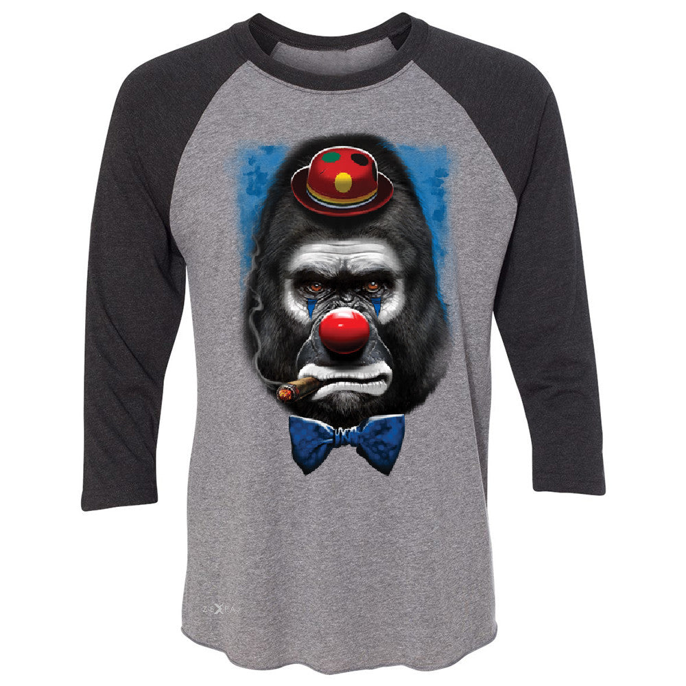 Gorilla Clown Sad Scary 3/4 Sleevee Raglan Tee Halloween Costume Event Tee - Zexpa Apparel - 1