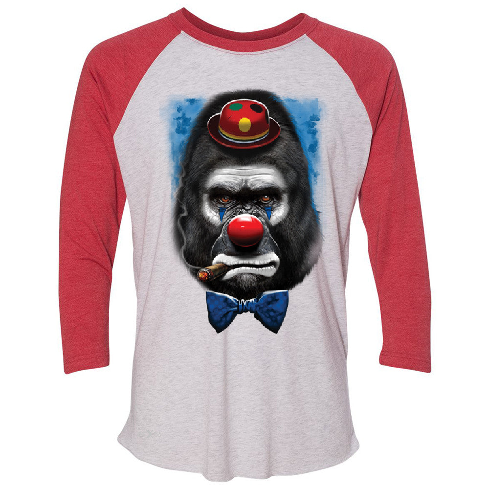 Gorilla Clown Sad Scary 3/4 Sleevee Raglan Tee Halloween Costume Event Tee - Zexpa Apparel - 2