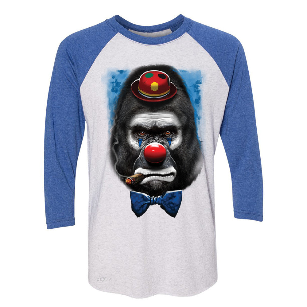 Gorilla Clown Sad Scary 3/4 Sleevee Raglan Tee Halloween Costume Event Tee - Zexpa Apparel - 3