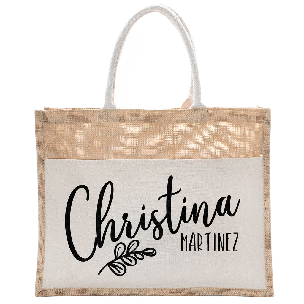 Personalized Luxury Totebag | Cusomized Floral Cotton Canvas Tote Bag For Bachelorette Party Beach Workout Yoga Pilates Vacation Bridesmaid and Daily Use Totes Design #17