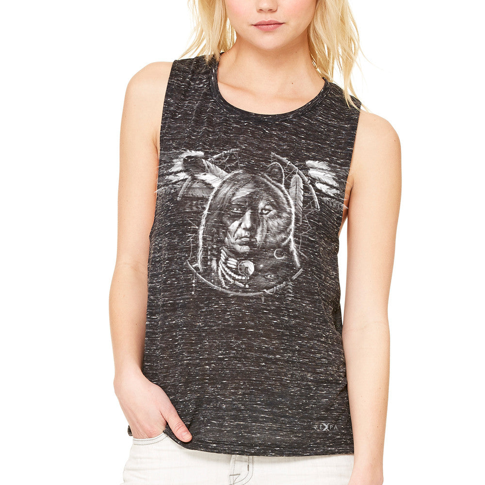Wolf Dream Spirit Women's Muscle Tee Native American Dream Catcher Tanks - Zexpa Apparel - 3