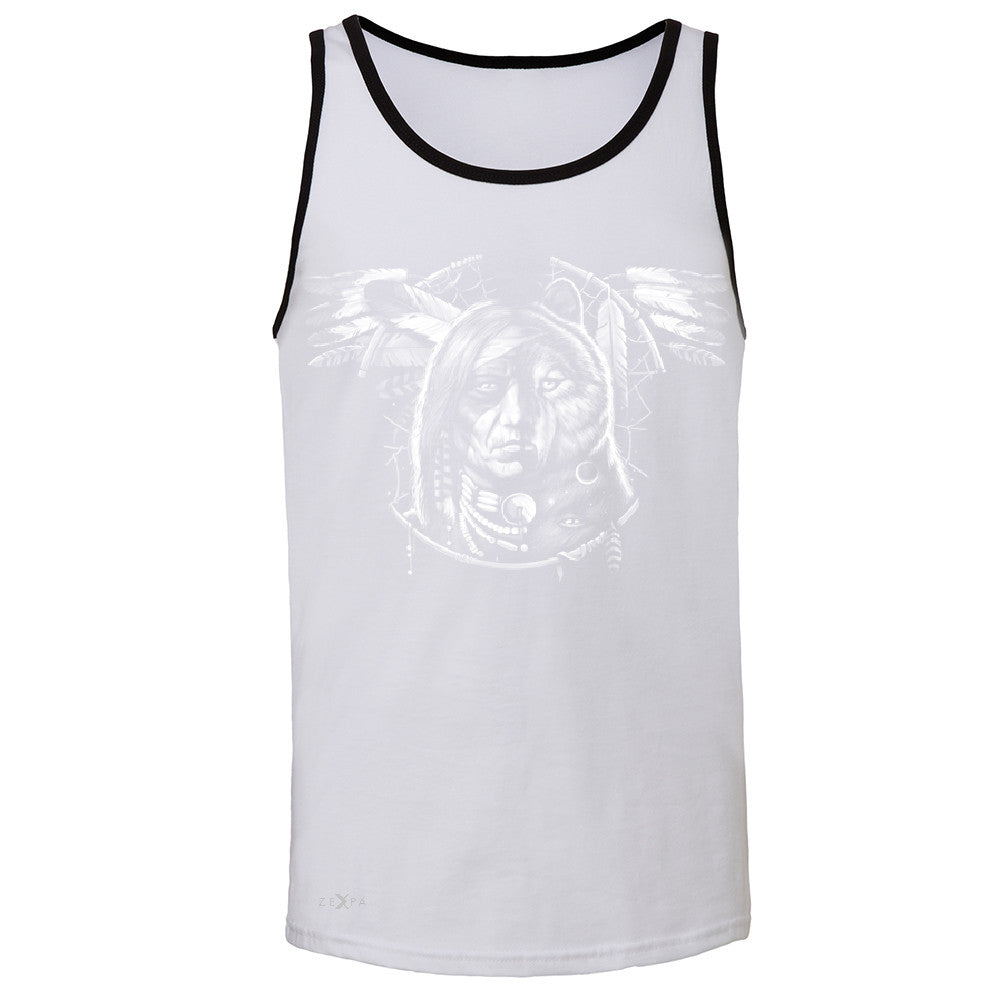 Wolf Dream Spirit Men's Jersey Tank Native American Dream Catcher Sleeveless - Zexpa Apparel - 5