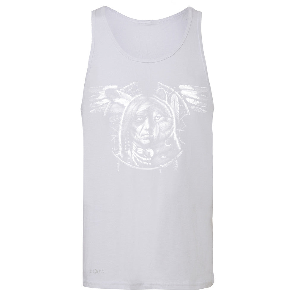 Wolf Dream Spirit Men's Jersey Tank Native American Dream Catcher Sleeveless - Zexpa Apparel - 6