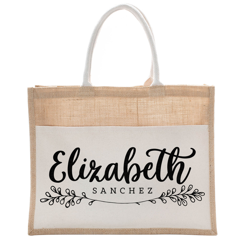Personalized Luxury Totebag | Cusomized Floral Cotton Canvas Tote Bag For Bachelorette Party Beach Workout Yoga Pilates Vacation Bridesmaid and Daily Use Totes Design #19
