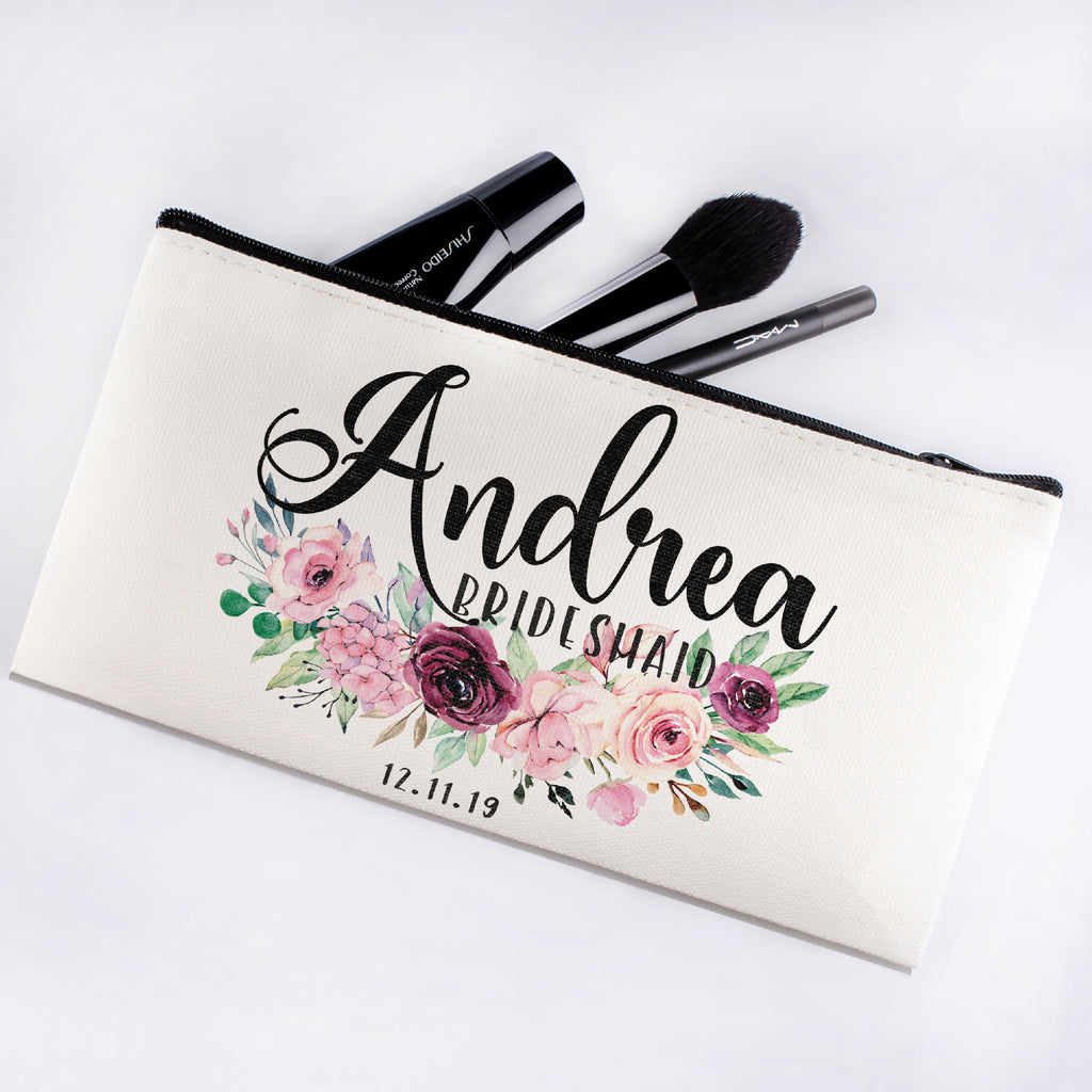 Personalized Makeup Bag Bridesmaid | Wedding Customized Pouch | Bachelorette Party Cosmetic Case |Toiletries Hndy Organizer with Zipper|Events Parties Baby Shower Anniversary Christmas Gift|Desging #10