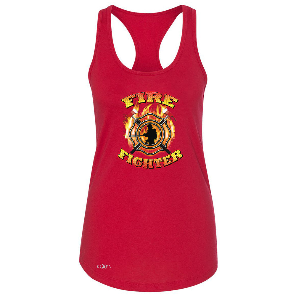 "Zexpa Apparelâ""¢ Firefighters Women's Racerback Courage Honorable Job 911 Sleeveless - Zexpa Apparel Halloween Christmas Shirts"