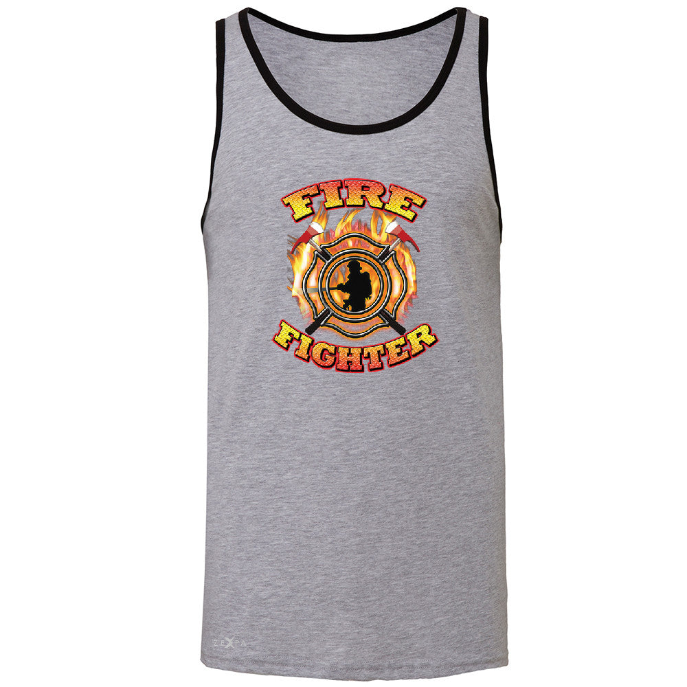 Firefighters Men's Jersey Tank Courage Honorable Job 911 Sleeveless - Zexpa Apparel - 2