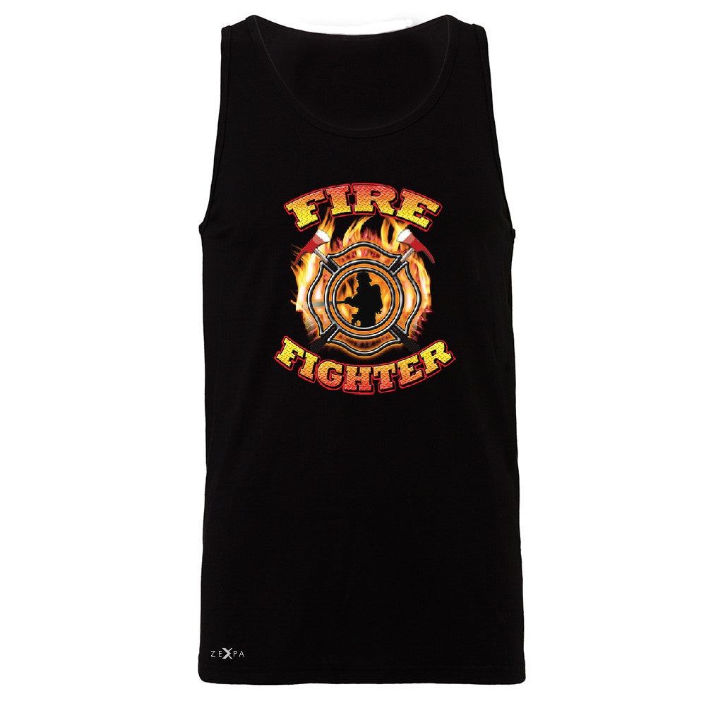 Firefighters Men's Jersey Tank Courage Honorable Job 911 Sleeveless - Zexpa Apparel - 1