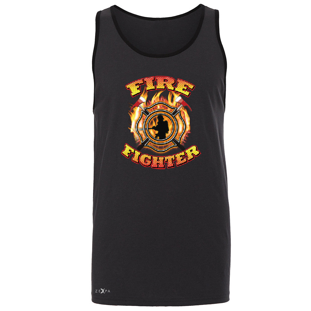 Firefighters Men's Jersey Tank Courage Honorable Job 911 Sleeveless - Zexpa Apparel - 3