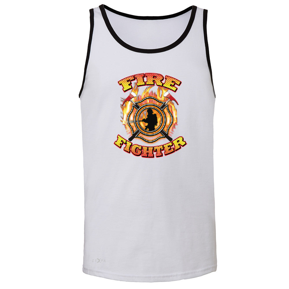 Firefighters Men's Jersey Tank Courage Honorable Job 911 Sleeveless - Zexpa Apparel - 5