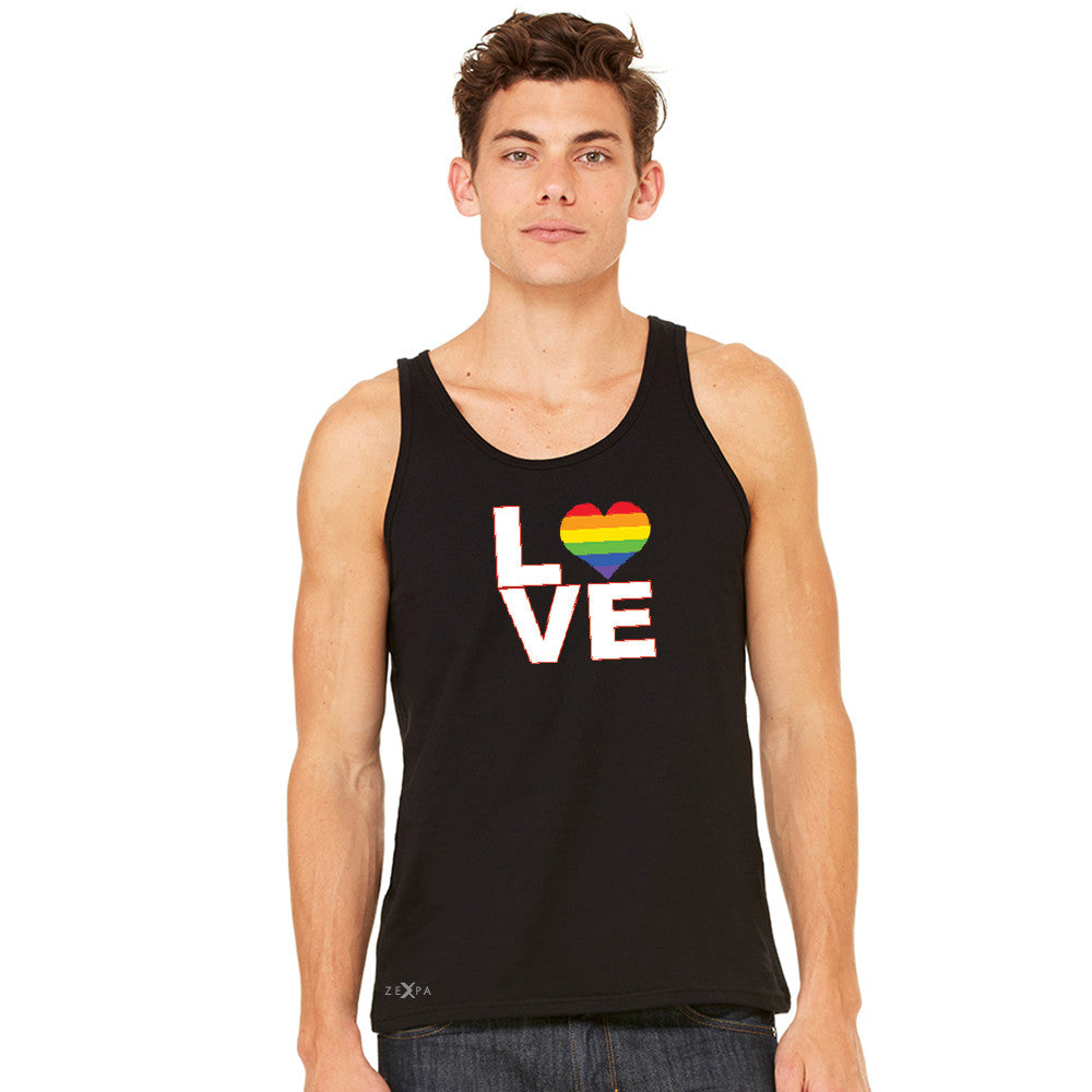 Love is Love - Love Wins Rainbow Men's Jersey Tank Pride LGBT Sleeveless - Zexpa Apparel