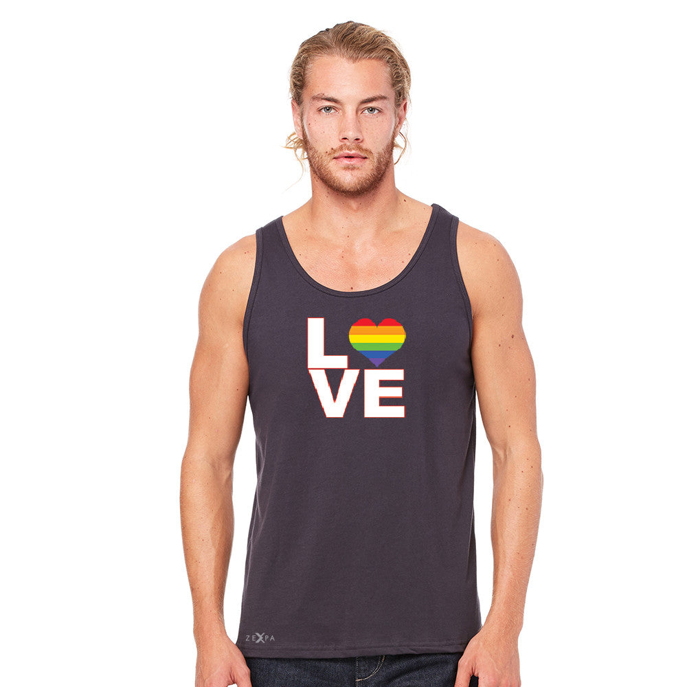 Love is Love - Love Wins Rainbow Men's Jersey Tank Pride LGBT Sleeveless - zexpaapparel - 5