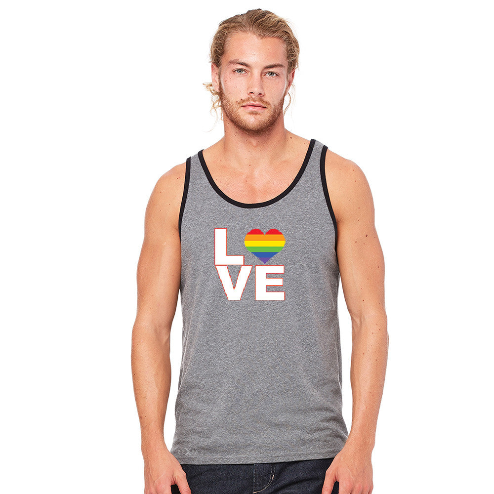 Love is Love - Love Wins Rainbow Men's Jersey Tank Pride LGBT Sleeveless - zexpaapparel - 6