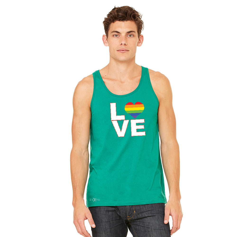 Love is Love - Love Wins Rainbow Men's Jersey Tank Pride LGBT Sleeveless - zexpaapparel - 7