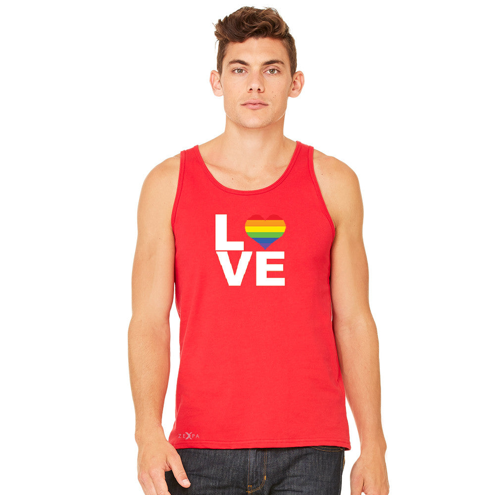 Love is Love - Love Wins Rainbow Men's Jersey Tank Pride LGBT Sleeveless - zexpaapparel - 8