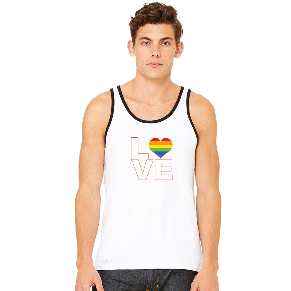 Love is Love - Love Wins Rainbow Men's Jersey Tank Pride LGBT Sleeveless - zexpaapparel - 10