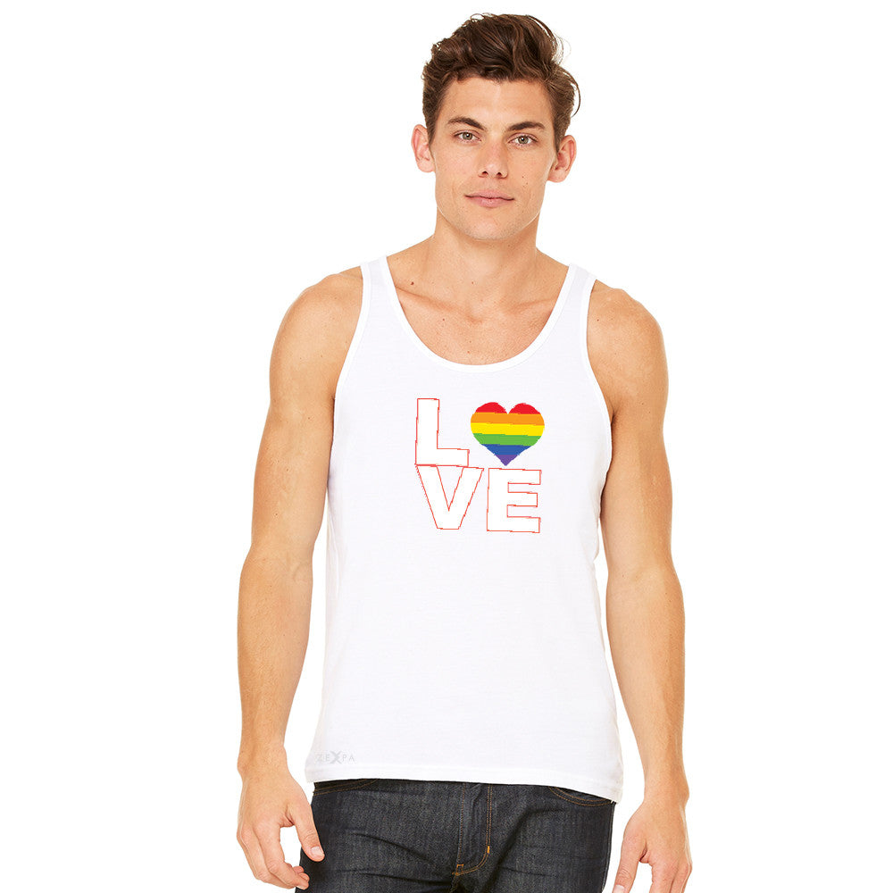Love is Love - Love Wins Rainbow Men's Jersey Tank Pride LGBT Sleeveless - zexpaapparel - 11
