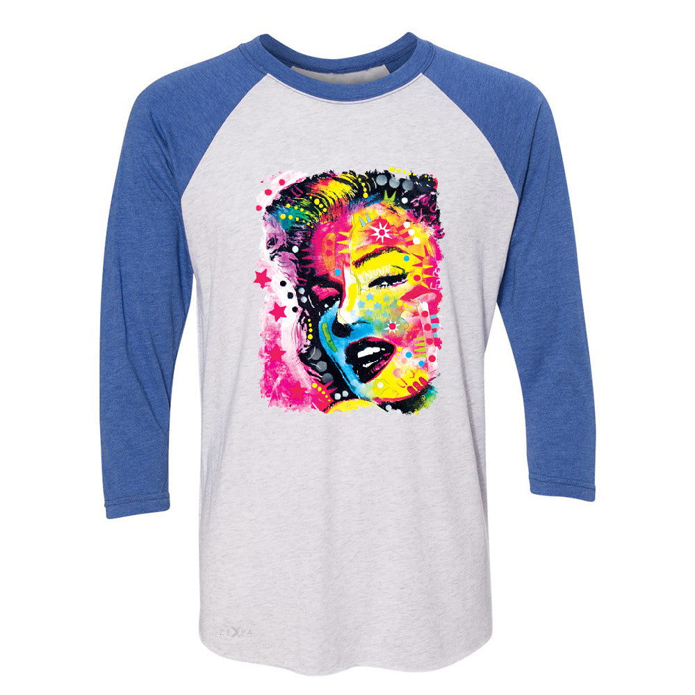 "Zexpa Apparelâ""¢ Marilyn Neon Painting Portrait 3/4 Sleevee Raglan Tee Hollywood Beauty Tradition Tee - Zexpa Apparel Halloween Christmas Shirts"