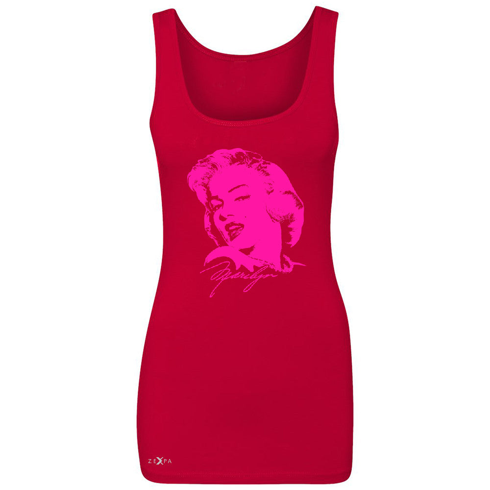 "Zexpa Apparelâ""¢ Neon Marilyn Monroe Pink Women's Tank Top Marilyn Signature Cool Sleeveless - Zexpa Apparel Halloween Christmas Shirts"