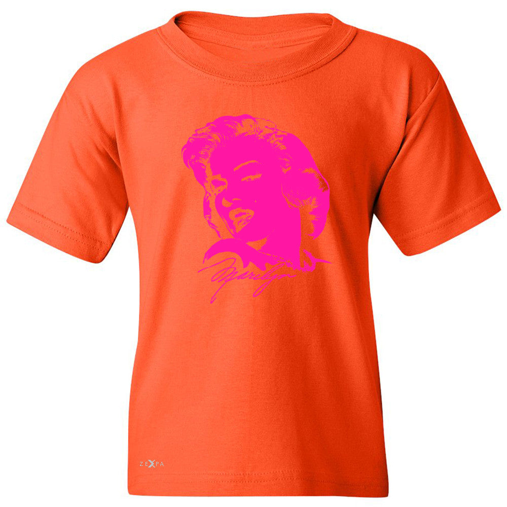 Neon Marilyn Monroe Pink Youth T-shirt Marilyn Signature Cool Tee - Zexpa Apparel - 2