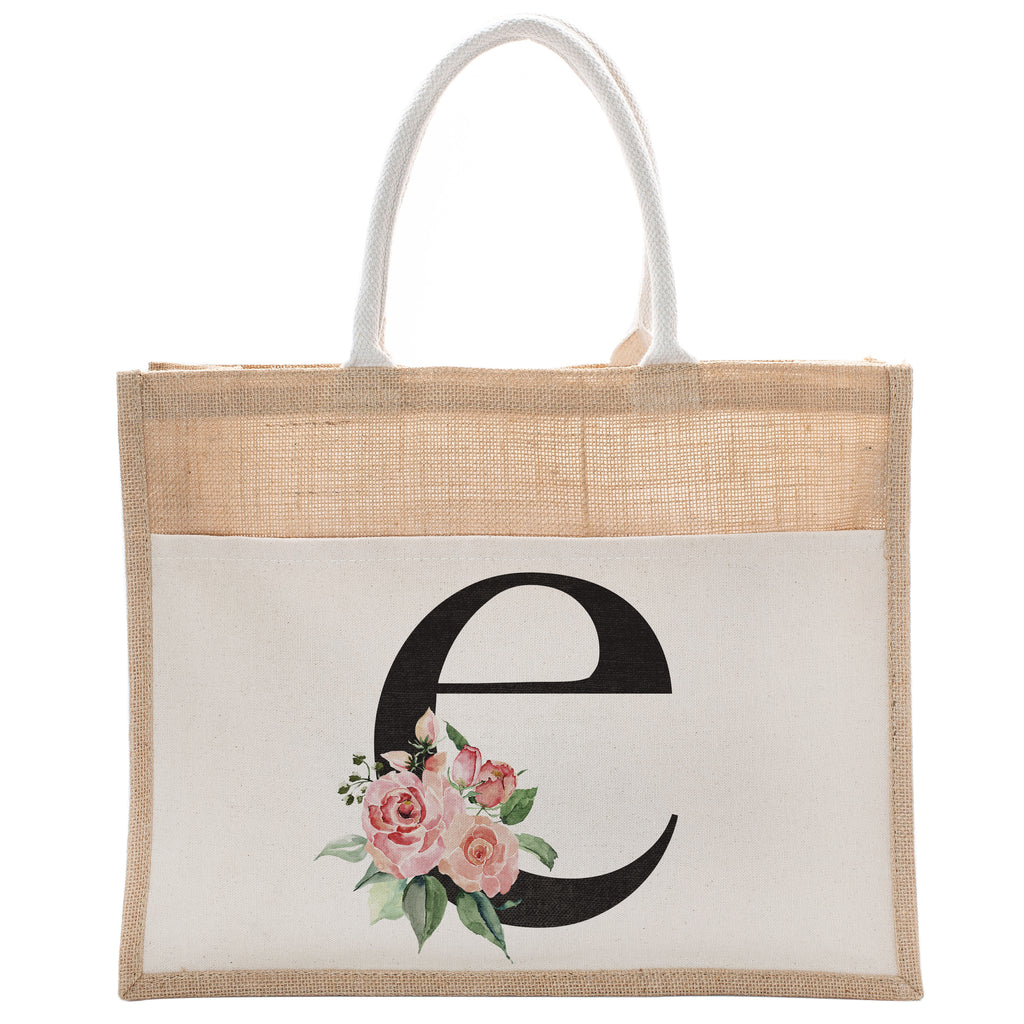 Daily Use Canvas Tote Bag With Floral Initial For Beach Workout Yoga Vacation Gym | Luxury Totes Gift for Christmas Events and Parties