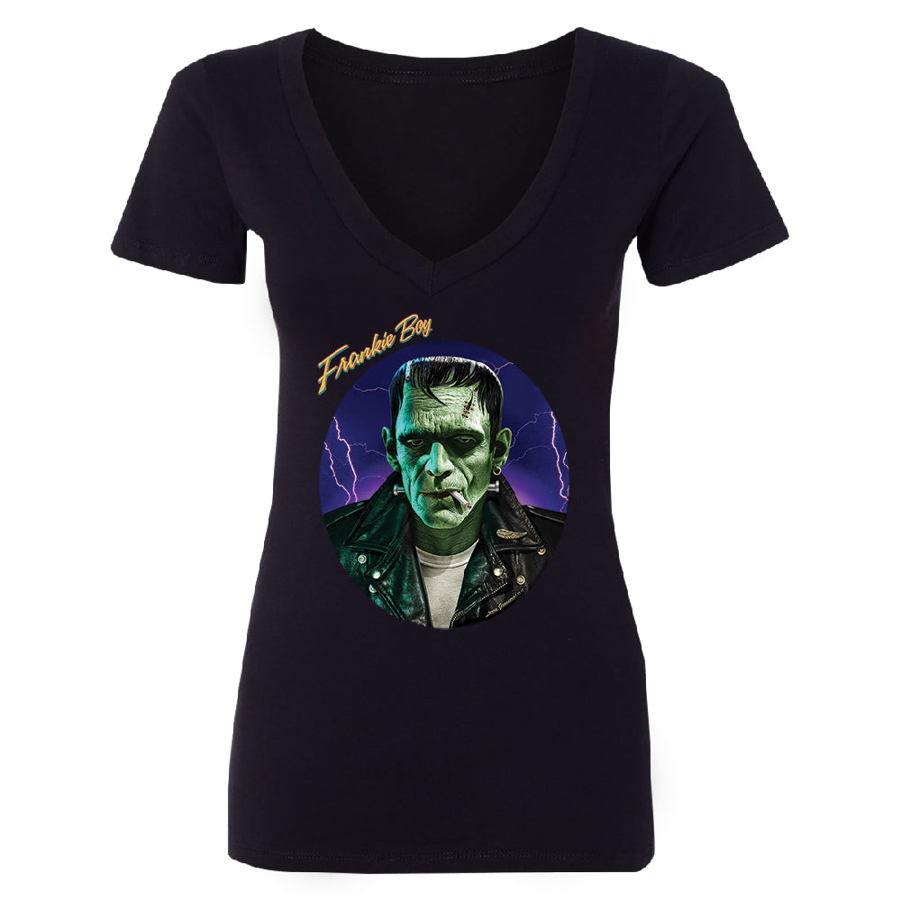 Scary Frankie Boy Women's Deep V-neck Halloween Costume Funny Design Tee