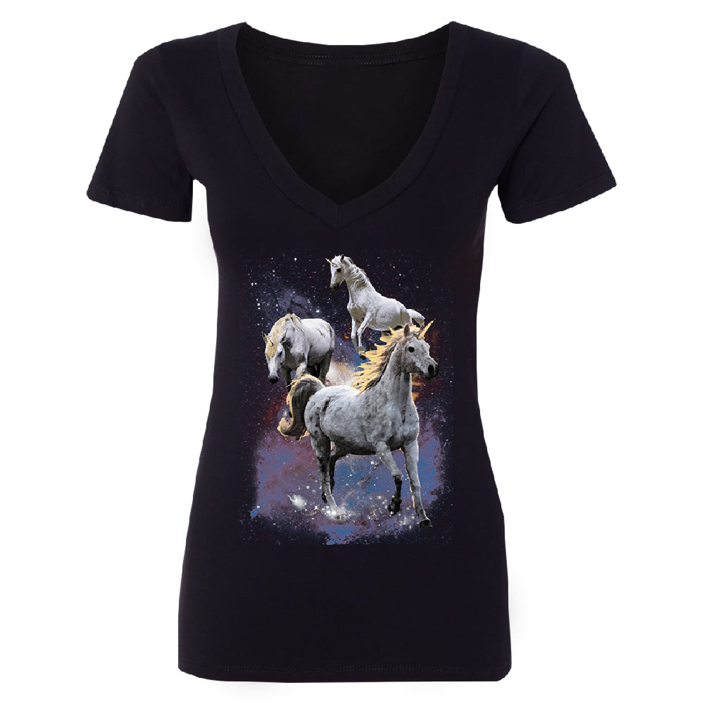 Space Phenomenon Unicorns Women's Deep V-neck Horses with Spiraling Horn Tee