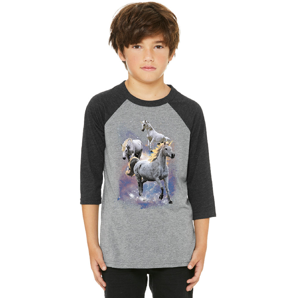 Space Phenomenon Unicorns Youth Raglan Horses with Spiraling Horn Jersey
