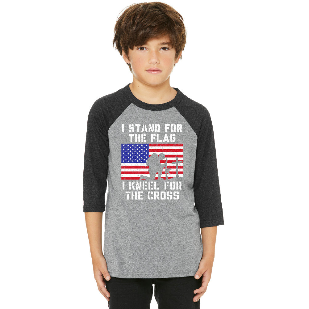 Stand for USA Flag Kneel for Cross Youth Raglan 4th of July USA Jersey
