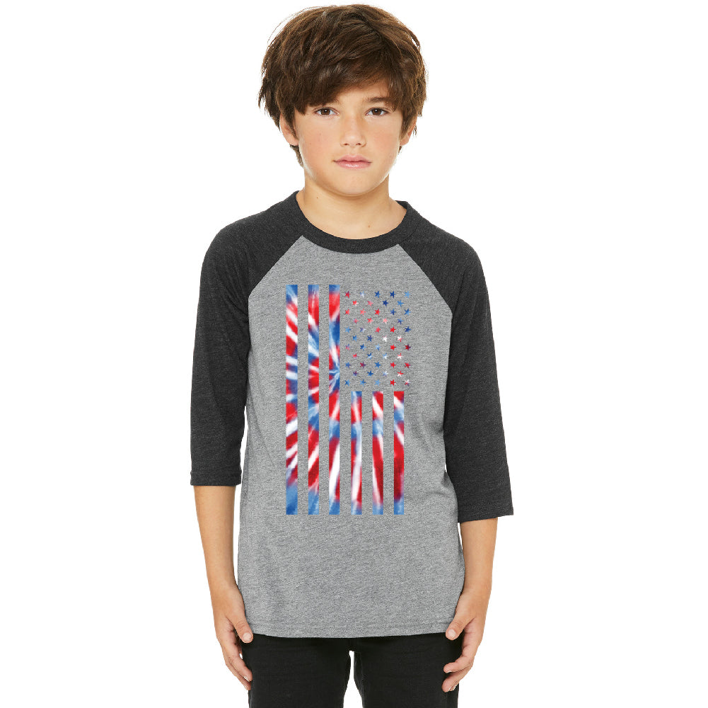 Patriotic Tie Dye American Flag Youth Raglan 4th of July USA Jersey
