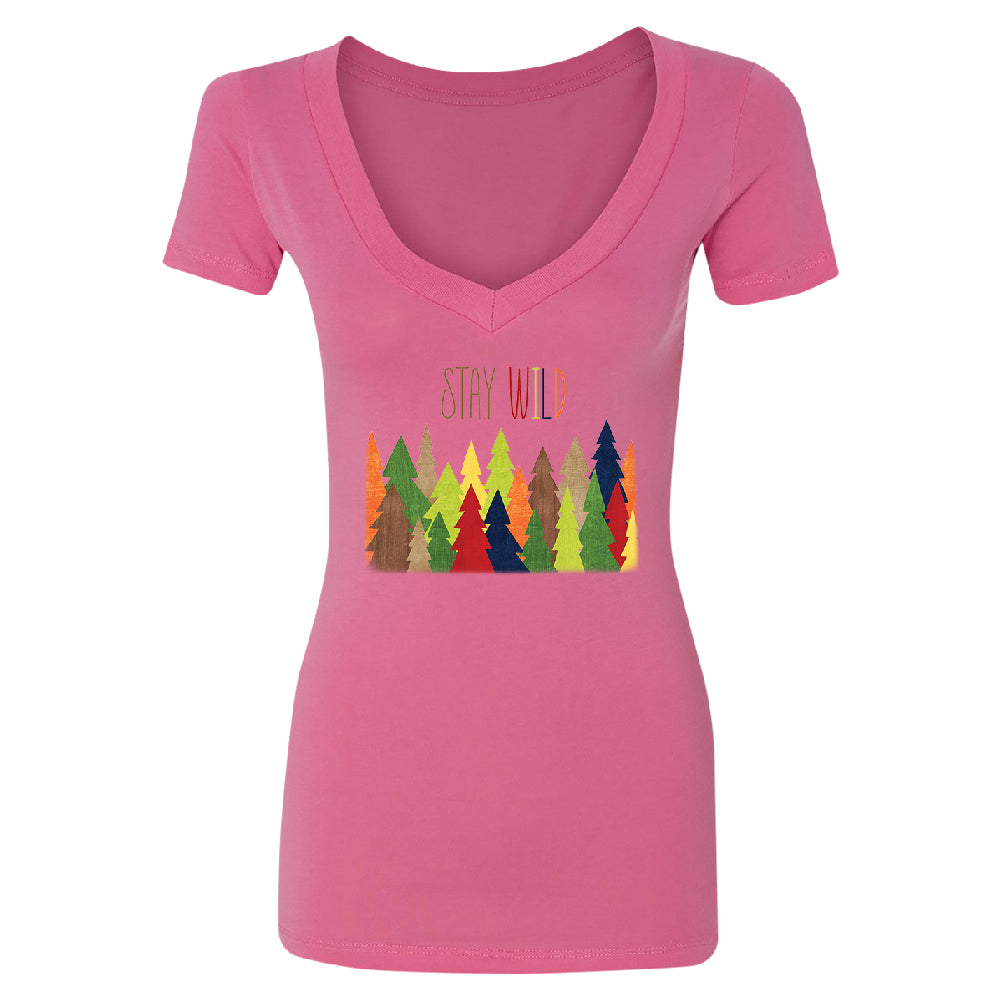 Stay Wild Live in Forest Women's Deep V-neck Colorful Wild Trees Tee