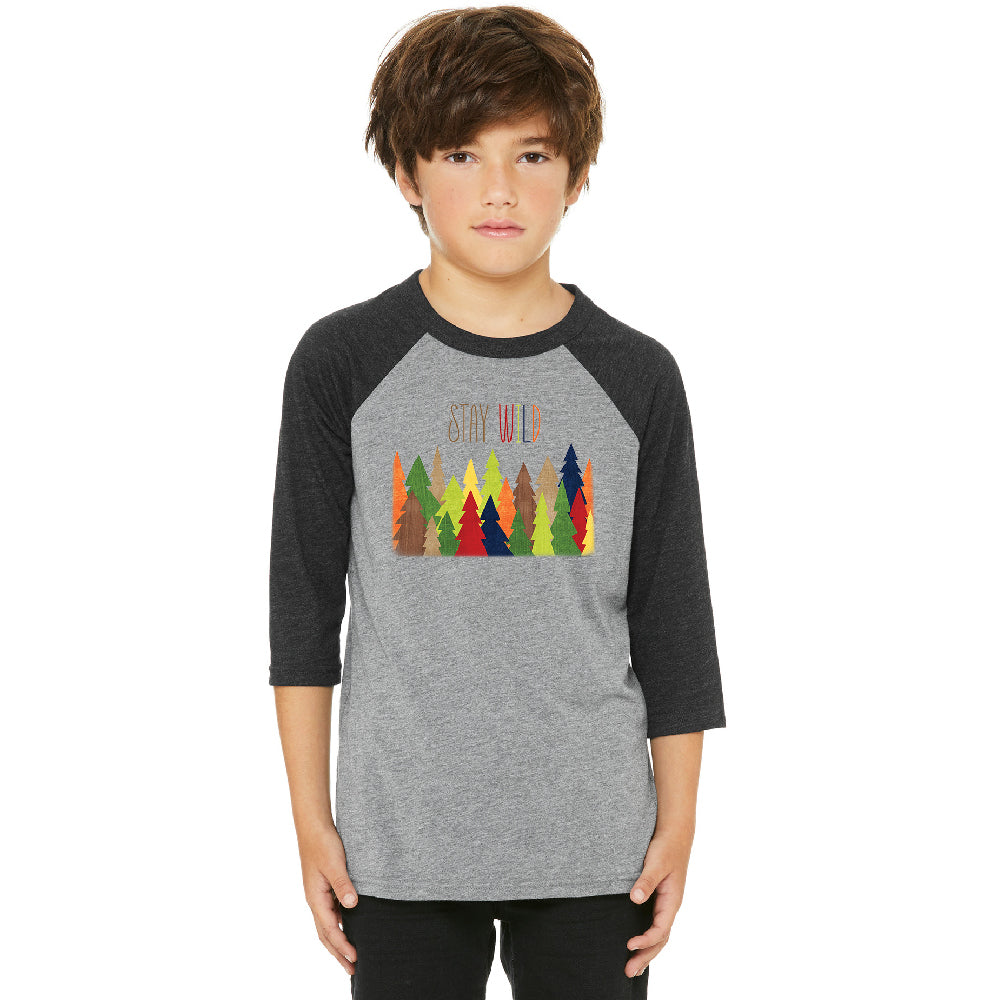 Stay Wild Live in Forest Youth Raglan Colorful Wild Trees Jersey