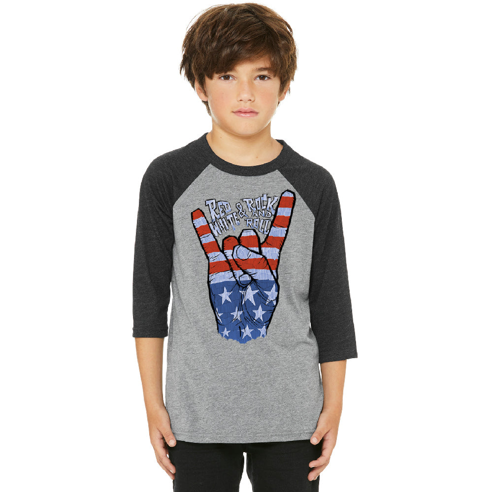 RWB Peace, USA Flag Rock and Roll Youth Raglan 4th of July USA Jersey