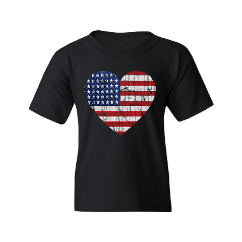 American Flag Heart Love Youth T-Shirt