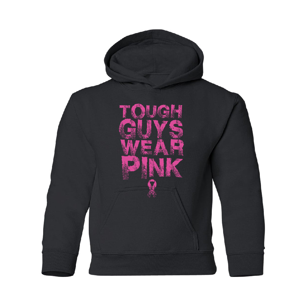 Tough Guys Wear Pink YOUTH Hoodie Breast Cancer Awareness SweatShirt