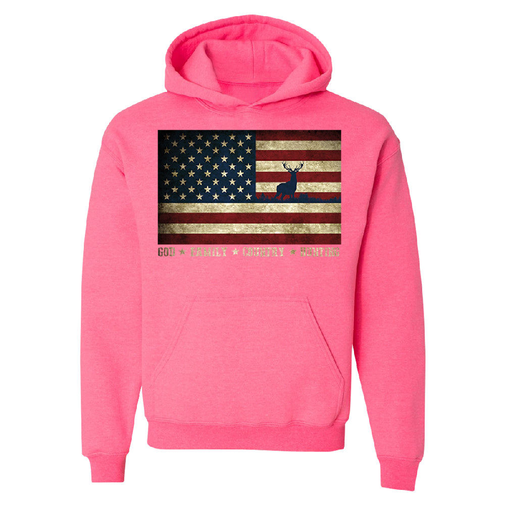 God Family Country Hunting American Flag Unisex Hoodie USA Sweater