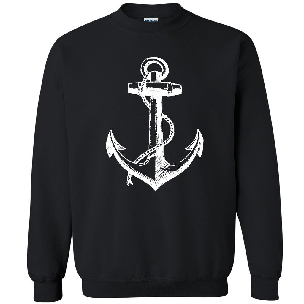 White Anchor Unisex Crewneck Marine Captain Cool Gift Sweatshirt - Zexpa Apparel