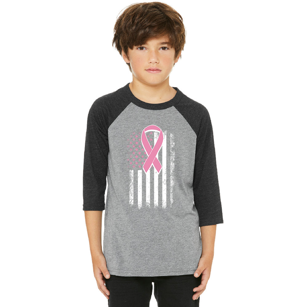 Pink Vintage American Flag Youth Raglan Breast Cancer Awareness Jersey
