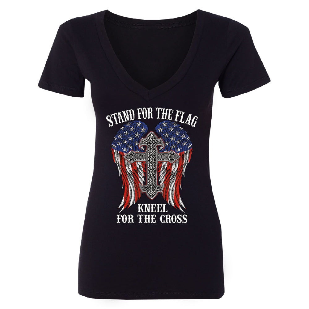 Stand For The Flag Kneel For The Cross Women's Deep V-neck American Flag Tee