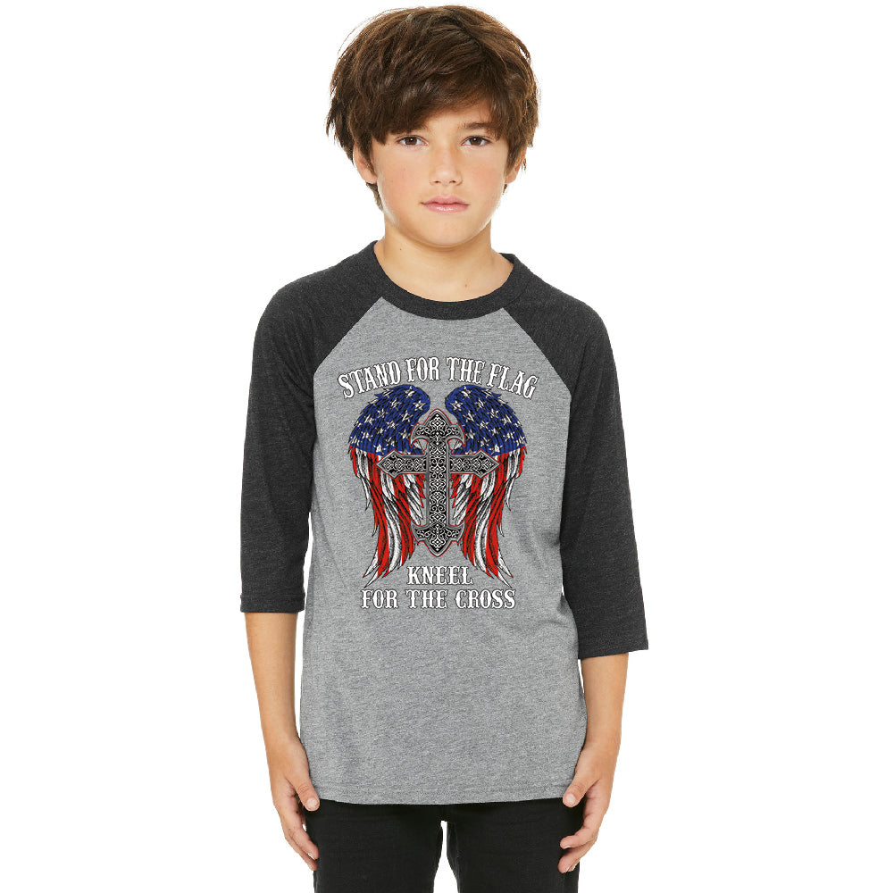 Stand For The Flag Kneel For The Cross Youth Raglan American Flag Jersey