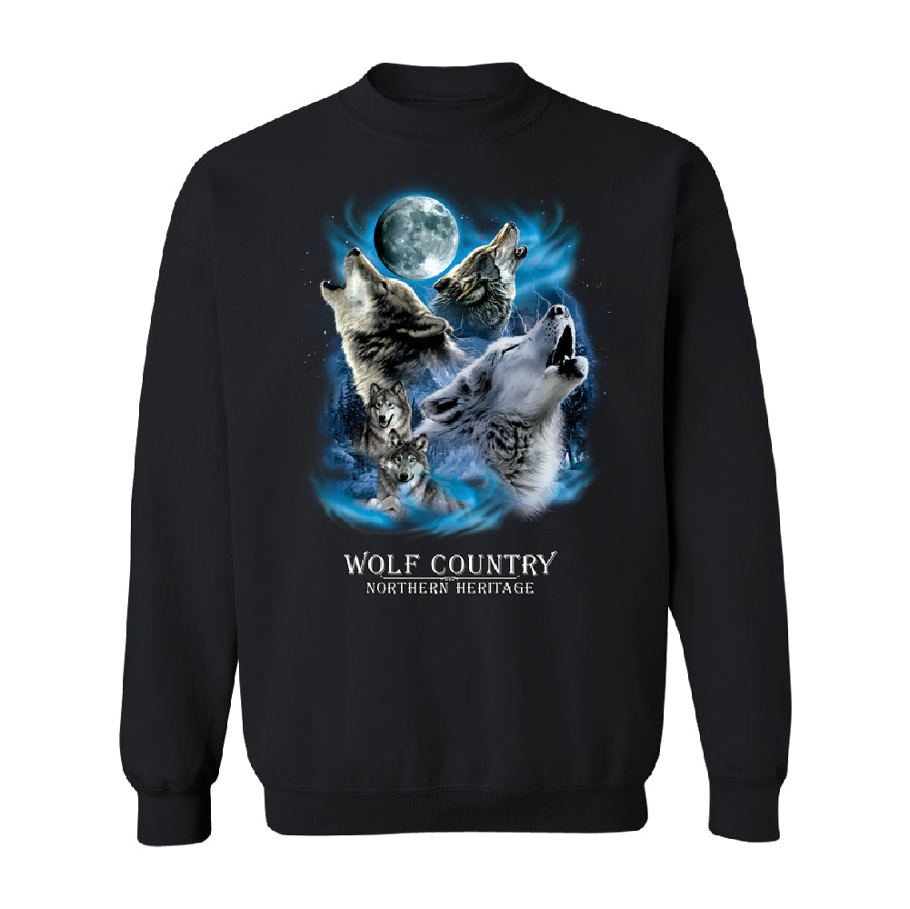 Wolves Howling Full Moon Unisex Crewneck Country Northern Heritage Sweater