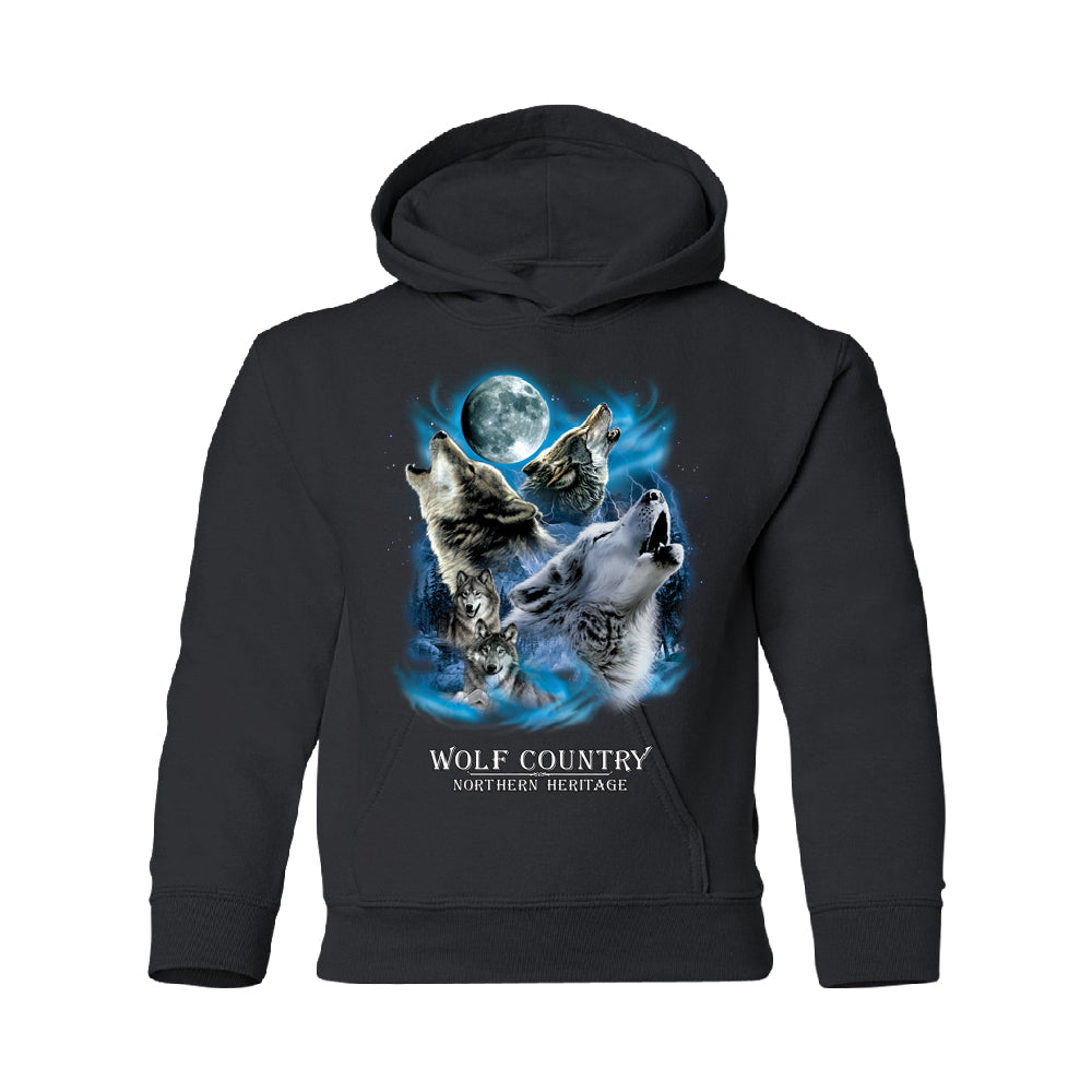 Wolves Howling Full Moon YOUTH Hoodie Country Northern Heritage SweatShirt