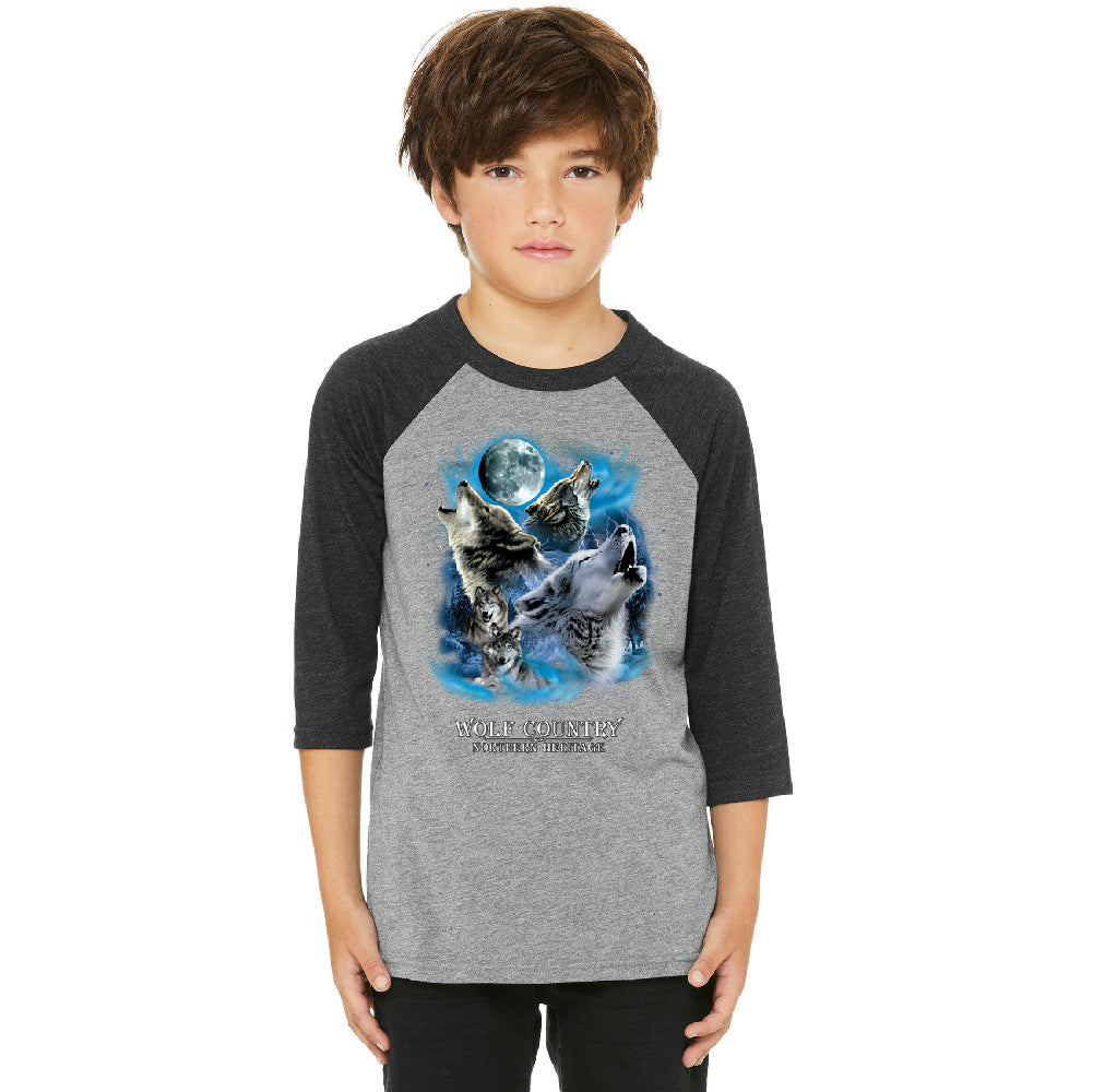 Wolves Howling Full Moon Youth Raglan Country Northern Heritage Jersey