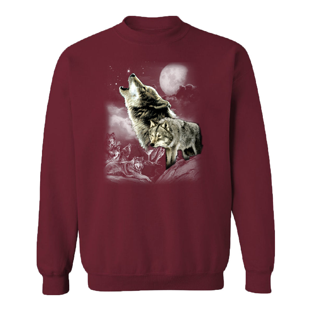 Wolves Wildness Howling Full Moon Unisex Crewneck Wolf the Mountain Sweater
